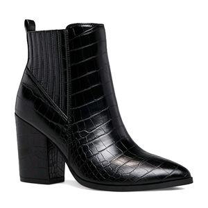 🆕Croc-Embossed Black Block-Heel Booties Size 9